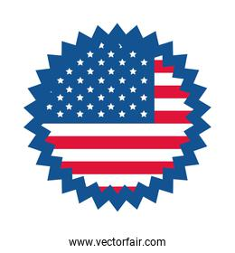 4th of july independence day, american flag badge celebration flat style icon