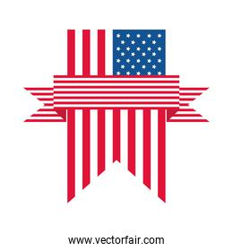 4th of july independence day, american flag pendant flat style icon