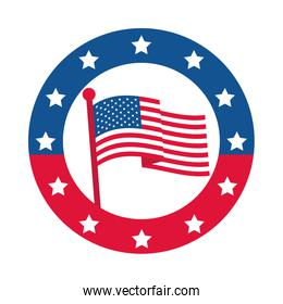 4th of july independence day, american flag in pole stars badge flat style icon