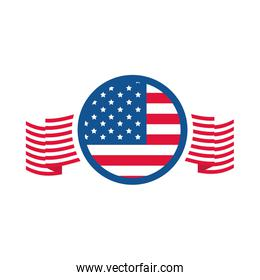 4th of july independence day, american flag memorial celebration flat style icon