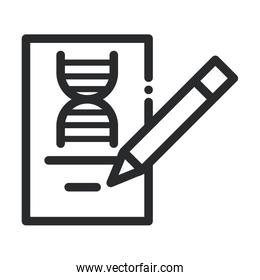 genetic pencil study laboratory science and research line style icon
