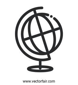 school globe map science and research line style icon