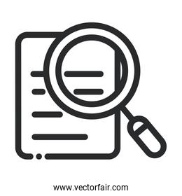 document magnifier analysis laboratory science and research line style icon