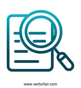 document magnifier analysis laboratory science and research gradient style icon