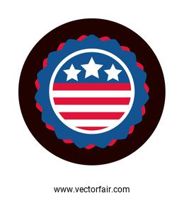 4th of july independence day, american flag emblem national design block and flat style icon
