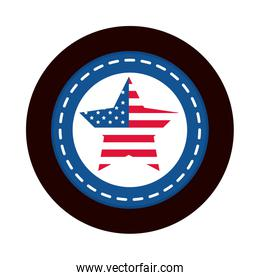 4th of july independence day, american flag in star national insignia block and flat style icon