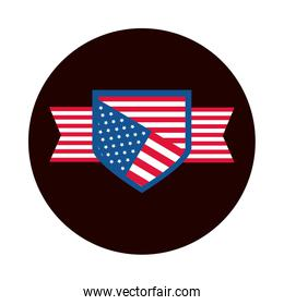 4th of july independence day, american flag shield honor celebration block and flat style icon