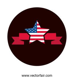 4th of july independence day, american flag in star banner design block and flat style icon