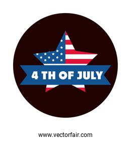 4th of july independence day, american flag star memorial block and flat style icon