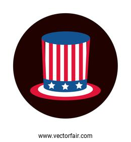 4th of july independence day, top hat with american flag block and flat style icon