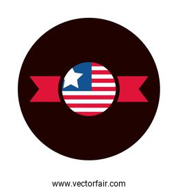 4th of july independence day, american flag insignia national banner block and flat style icon