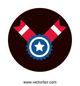 4th of july independence day, american flag medal star emblem block and flat style icon