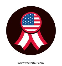 4th of july independence day, rosette american flag national symbol block and flat style icon