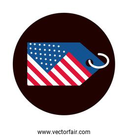 4th of july independence day, american flag tag event block and flat style icon