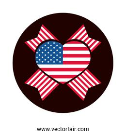 4th of july independence day, american flag heart pride celebration block and flat style icon