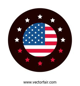 4th of july independence day, american flag stars badge design block and flat style icon