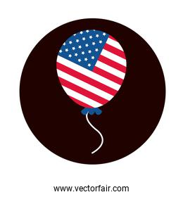 4th of july independence day, american flag in balloon celebration block and flat style icon