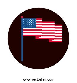 4th of july independence day, waving american flag patriotism national block and flat style icon