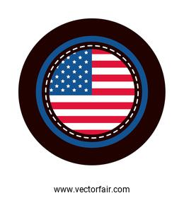 4th of july independence day, american flag round sticker design block and flat style icon