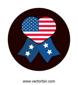 4th of july independence day, heart shaped american flag ribbon with stars block and flat style icon