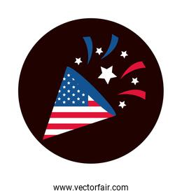4th of july independence day, fireworks american flag cleebration party national block and flat style icon