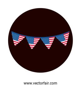 4th of july independence day, american flag in pennants decoration block and flat style icon