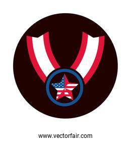 4th of july independence day, medal star american flag honor block and flat style icon