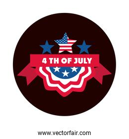 4th of july independence day, american flag stars ribbon label block and flat style icon