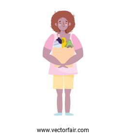 young man carrying paper bag grocery with food isolated design