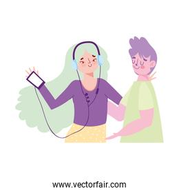 girl using smartphone listening music with earphones and boy