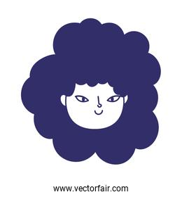 young woman face cartoon character female icon isolated design
