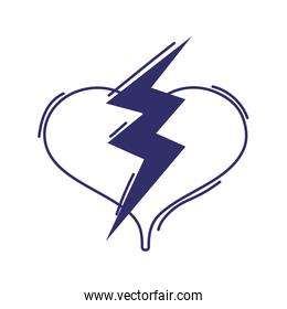 heart love power thunderbolt design isolated icon