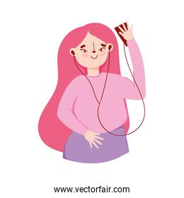 young girl with smartphone and earphones listening music isolated design