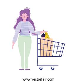 woman characters with shopping cart and bag food supermarket
