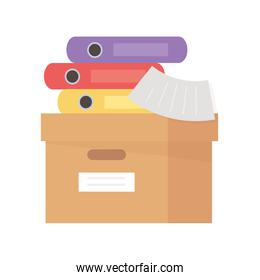 cardboard box with books and paper office isolated icon design