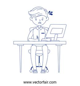 stressed employee working with computer in desk isolated design