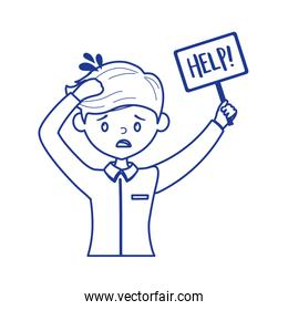 stressed worker with help placard isolated icon design