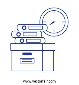 cardboard box with books and clock office isolated icon design