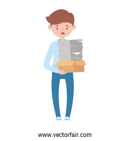 stressed employee cardboard box and papers stack isolated design