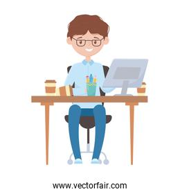 smiling employee working with computer coffee cup on desk isolated design