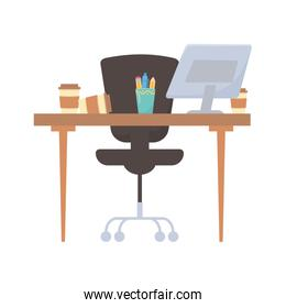 office desk chair coffee cup and pencils isolated design