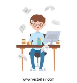 stress at work, exhausted businessman sitting in the office