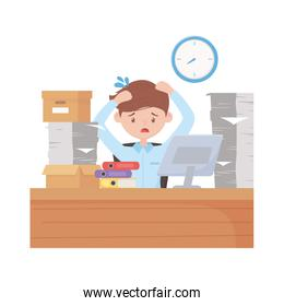 stress at work, tired employee working in desk with stack of papers boxes and laptop