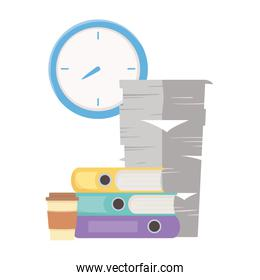 stress at work, pile of papers binders coffee cup and clock