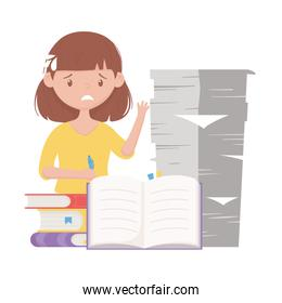 stress at work, worried female employee with stack papers and books