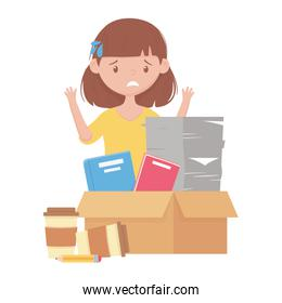 stress at work, exhausted female employee with stack of documents books on box and coffee cups