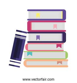 school stacked of books isolated icon illustration