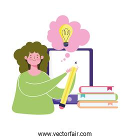 online education, teacher stack books and pencil smartphone
