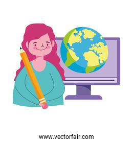 online education, student girl computer world and pencil idea