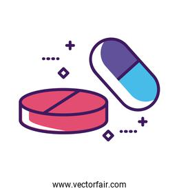 medicine capsules and pills drugs line and fill style
